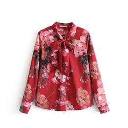camicette di fiori primaverili Sconti camicetta cravatta floreale camicia donna top vintage camicie con stampa floreale camicette donna 2018 primaverile nuovo marchio chemise femme camisa
