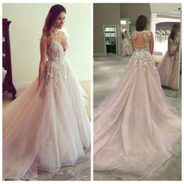 Wholesale gardening charms - 2018 Sexy Deep V-Neck Wedding Dresses Lace Appliques Criss Cross Backelss Bridal Gowns Charming Organza Chapel Train Wedding Gowns