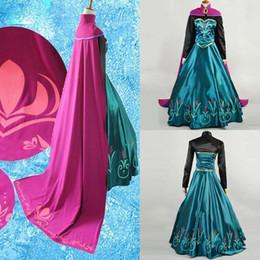 M L XL Snow Queen anna vestido adulto halloween anna princesa coroação traje cosplay filme festa mulheres fancy dress custom made sexy cheap princess dresses for adults de Fornecedores de vestidos de princesa para adultos