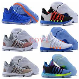 Wholesale Kds Shoes - Top KD 10 Basketball Shoes Men Men's Blue Tennis BHM Kevin Durant 10 X Kds Elite Floral Aunt Pearls Easter Sport Shoe Sneakers