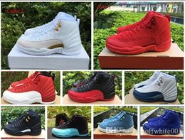 Wholesale Man Online Games - 2018 new mens basketball shoes 12 wool mens sneaker Black Nylon discount shoes flu game french blue sports shoes sale online
