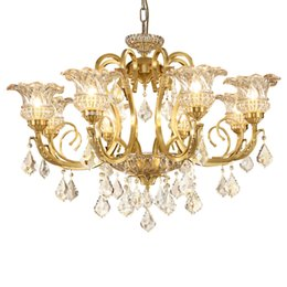 Wholesale French Vintage Art - Style Vintage Charm French Empire large crystal chandelier led lights for hotel church living room copper ceiling lamps