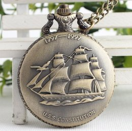 лодочный холст Скидка Античный 1797-1997 Конституция США Парусный спорт холст лодка корабль дизайн кварцевые карманные часы с ожерелье Chian подарок кулон часы