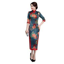 Mujeres clásicas de cuello mandarín delgado Qipao satinado floral Sexy Cheongsam High Split vestidos nacionales chinos más tamaño Vestidos 3XL desde fabricantes