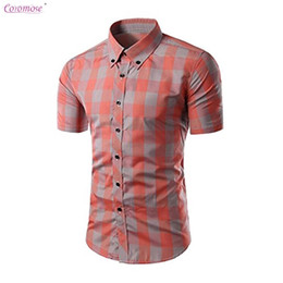 Wholesale Open Breast Clothing - Coromose Mens Essential Plaid Open Collar Short Sleeve Shirt Casual Formal Slim Fit Shirt Top Masculino clothing camisetas