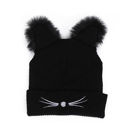 95addc8edde harajuku hats Coupons - Warm Winter Hat Fashion Lovely Cat Ear For Women  Harajuku Wool Knitted