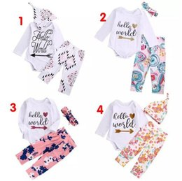 Wholesale Baby High Neck Tops - high quality girl suits 3PCS Newborn Baby Girls Hello World long sleeve t shirt Tops Romper+Floral Pants+Hat casual Outfits kids Clothes Set