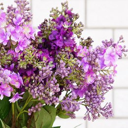 Wholesale Cheap Fake Flower Bouquets - Silk Lilac fake flowers home new Year decoration accessories wedding party bride bouquet diy material cheap artificial flowers