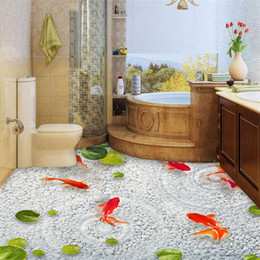 Wholesale Wall Paint Fish - beibehang Lotus leaf fish Custom photo Wallpaper Waterproof Self-adhesive Wall Sticker 3D Floor Painting Mural Wall Paper roll