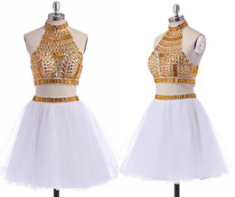 Wholesale mini quinceanera dresses - Free Shipping White Gold Two Piece Quinceanera Dresses Online Crystal Beaded Short Sweet Homecoming Dresses Cocktail Prom Dresses HY978