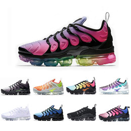 Wholesale flat sharks - New arrival 2018 Vapormax TN Plus BETURE mens running shoes Red Shark Tooth Reverse Sunset TRIPLE BLACK white Grape trainers sports sneakers