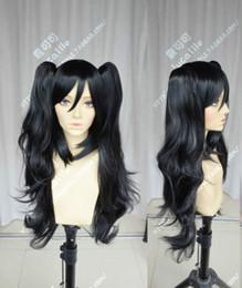 peluca lolita resistente al calor Rebajas Maid Lolita Long Black Wavy Clip Ponytail Cosplay partido a prueba de calor Pelucas llenas