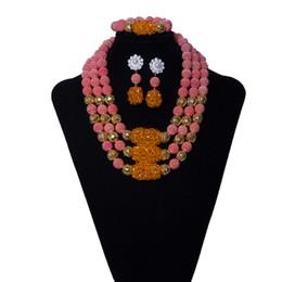 Canada Grands ensembles de bijoux africains pêche rouge fleurs collier de mariée ensemble de bijoux 3 couches femmes indien bijoux de mariage ensemble livraison gratuite Offre