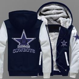Wholesale Thick Fleece Coat - Wholesale- Hot New Men's Winter Coat Cowboy Dallas Team Zipper Jacket Sweatshirts Letter Printing Pattern Thicken Fleece Hoodie Men Coat