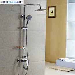 Wholesale Mixing Valve Shower - BOCHSBC Round Big Rain Shower Set Bathroom Shower Suite Single Holder Dual Control Water Mixing Valve Lift Bath Faucet