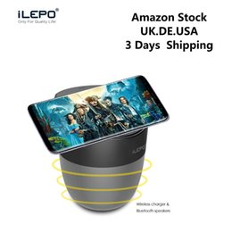 Wholesale Uk Apples - iLEPO Wireless Charger Speaker Qi-enabled Fast Charger Stereo Blutooth Speaker Portable Subwoofer With 2500mAh Battery Retail Package