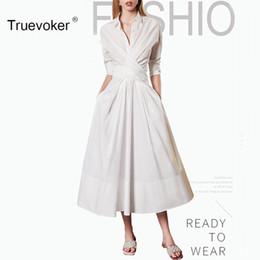 Wholesale Night Clubs Europe - Truevoker Europe Spring Designer Dress Women High Quality Brief 3 4 Sleeve Turn Down Collar White Midi Cotton Shirt Dress