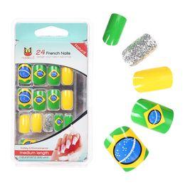chiodo completo 24 Sconti 24 Punte del Brasile Punte false Nail Art Full Round acrilico gel UV Tip Miglior regalo per Lady Unghie finte trucco