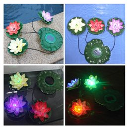 Wholesale Led Lights For Aquarium Plants - Aquarium Led Lighting Practical Garden Pool Floating Lotus Solar Light Night Lamp For Pond Fountain Decoration Solar Lamps