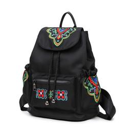 Bolsas calientes chinas online-Estilo chino caliente mujeres bordadas bolso de la mariposa femenino Nylon Vintage paquete de la espalda estudiantes universitarios mochilas escolares