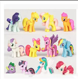 Wholesale Red Figurine - 12 pieces set My little Pony Action Figures Cartoon Movie figurine ponies princess Celestia Luna kids Doll Toy Gifts cake topper decor