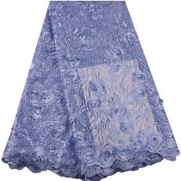 Argentina Azul cielo de alta calidad de tela de encaje nigeriano de moda nupcial tela de encaje francés africano 5 yardas malla de tul de material neto de encaje S1375 Suministro