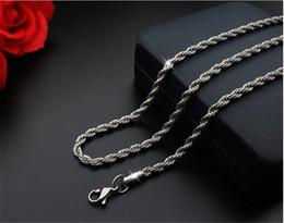 collane di corda materiali Sconti Intera vendita5pcs / lotto argento colore 45 cm / 50 cm / 55 cm / 60 cm catena di corda collana catene in acciaio inox per gioielli fai da te materiali di fabbricazione