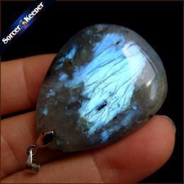 Pendente di luna labradorita online-Reale naturale grigio Moonstone Raw Gem Stone Ornament Artigianato arcobaleno Labradorite fai da te collane con pendente di cristallo per regalo SS279