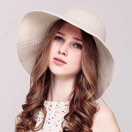 e6721c0300f New Ladies Elegant Sun Hats Women s Beach Caps Wide Brim Sunscreen Female  Causal Hat Female Casual Folding Sun Cap B-7036