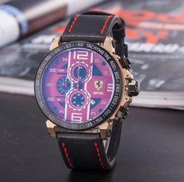 Wholesale running calendar - 2018 F1 Sports watch 3 eye 6 needle luxury watch quartz Mechanical Run seconds Movement Men's watches