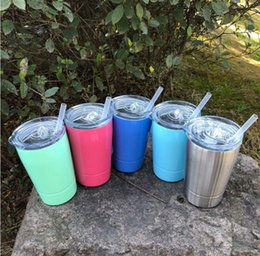 Wholesale Lighted Coffee Cup - 2018 New Style 9oz & 12oz Kid Cups Vacuum Insulated Beer Mugs Stainless Steel Wine Glass Coffee Mugs With Lid With Straws