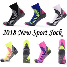 Wholesale Wholesale Bike Tubes - New 2018 Sports Multicolor Striped Cycling Soccer Socks Breathable Outdoor Running Bike Tube Socks for Women Men Free DHL G505S