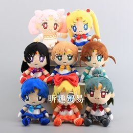 "sailor moon anime figures Coupons - New Arrival Cute 8pcs Lot 7"" 18cm Sailor Moon Plush Doll Stuffed Keychain Toy For Child Best Gifts zqw-a"