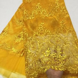 Wholesale flowers colored stones - 5 Yards pc Beautiful gold french net lace and flower embroidery african mesh lace fabric with beads stones for dress BN80-1