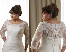 Plus Size Bridal Giacche Boleros Bianco Avorio Pizzo Paillettes 3/4 Sleeve Button Ribbon Girocollo Accessori da sposa da bolero di sera chiffona nera fornitori