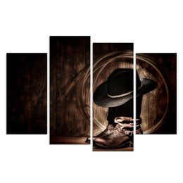 Wholesale Hd Boots - Unframed HD Printed 4 Piece Canvas Prints Cowboy Hat and Boots American West Rodeo Elements Canvas Wall Art Giclee Prints