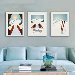 Wholesale Vintage Skis - Winter Sports Skiing Art Poster Canvas Painting , Vintage Travel Poster Ski In Snow Mountain Print Winter Home Decor