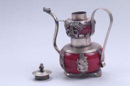 Wholesale People Monkeys - Chinese Handwork beauty porcelain Tibetan silver inlay monkey & dragon lid