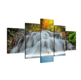 Wholesale still life oils - Free shipping Modern Spray Painting 5 Pieces Panel Waterfall Wall Pictures Home Decor Life Oil Room Art Portait Paintings HD Print Painting
