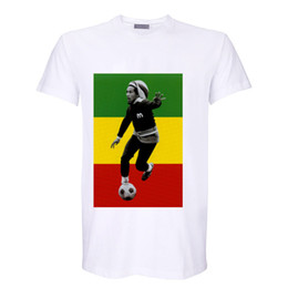 Wholesale Bob Marley T Shirts - red yellow green bob marley reggae fashion digital printing t shirt vintage band tee men women size tops 1 from sale