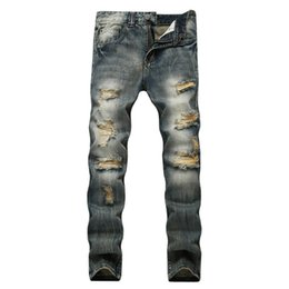 Wholesale Jeans Hole Boy - 2018 New Warm Jeans For Men Straight Skinny Thick Retro Distressed Ripped Jeans Man Vintage Yong Boy Hip Hops Biker Moto Pants
