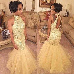 Wholesale Peplum Mermaid Dress For Prom - Major Beading Puffy Mermaid Prom Dresses For Graduation Long Yellow Tulle Bling Crystal Sequins Open Back Evening Party 2018