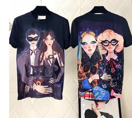 Wholesale Woman S Back - 2018 Europe Italy Luxury High Quality Front Couple Printed Back Two Women Illustration Printed T-shirt Fashion Men's Women's T-shirt Casual