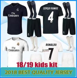 Wholesale youth shirts - Real Madrid soccer jerseys kids jersey kits youth boys child 2018 2019 RONALDO ISCO Modric ASENSIO BALE KROOS football shirts set