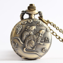 smallest watch Coupons - Antique Steampunk Lovely Cute Rat Mouse Small Style Quartz Pocket Watch of Vintage Male Female Boys Girls Necklace Chain