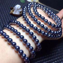 Кружевной браслет онлайн-Genuine Natural Terahertz Wave Gems Bracelets For Women Men Powerful Stretch Three Laps Round Bead Bracelet 6mm 8mm