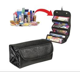 Rotolare i sacchetti di stoccaggio online-Borsa cosmetica Roll-N-Go 2 colori Roll up per un facile trucco da viaggio Custodia con 4 griglie separate Spedizione GRATUITA