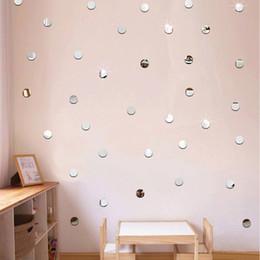 tuiles de son Promotion 100pcs / lot 2cm 3D Bricolage Acrylique Miroir Wall Sticker Coeur / Forme Ronde Autocollants Decal Mosaïque Miroir Effet Living Home Decor 7Z