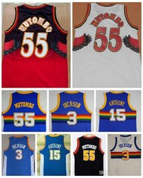 2a40dba67 NCAA Mejor calidad 55 Dikembe Mutombo Jerseys 3 Allen Iverson 15 Carmelo  Anthony Blue College Dikembe Mutombo Baloncesto Jerseys Película