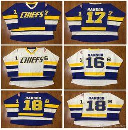 Wholesale Hockey Free - men's Hanson Brothers Charlestown Hockey Jerseys #16 Jack #17 Steve #18 Jeff SlapShot Movie Jerseys Stitched Free shipping